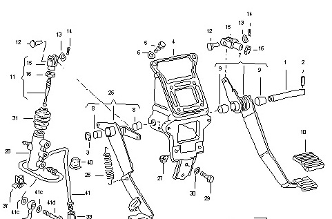 Vanagon clutch and brake pedal assembly (1/6)