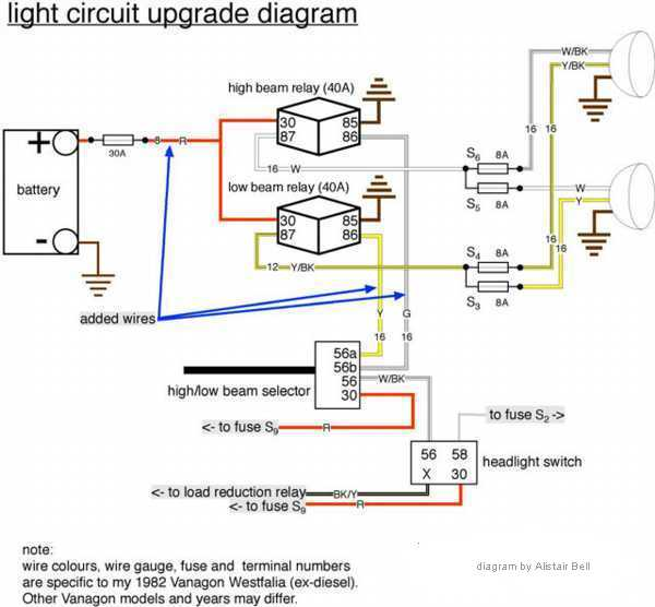 vanagon headlight relay upgrade shooftie vanagon fuse panel light switch wiring diagram vanagon #4
