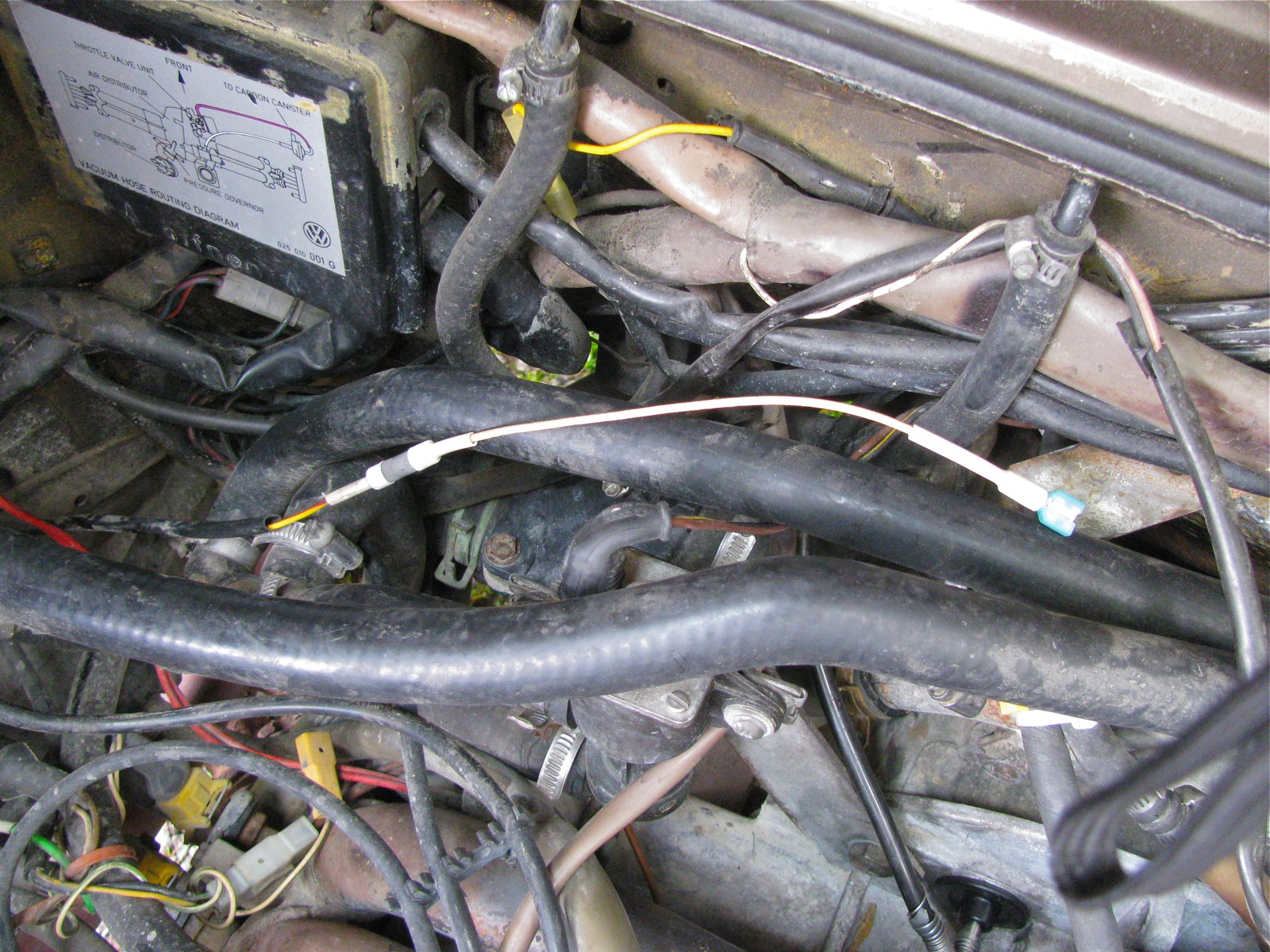 Vanagon – coolant temp sender wire repair and another broken hose